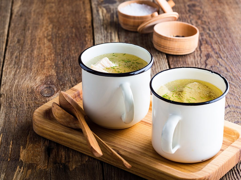 foods for great skin, bone broth in mugs