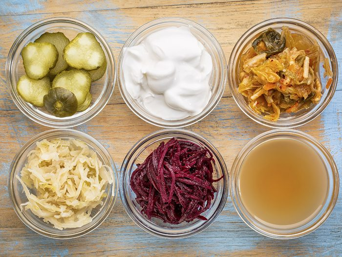 foods for great skin, fermented foods including pickles yogurt and kimchi