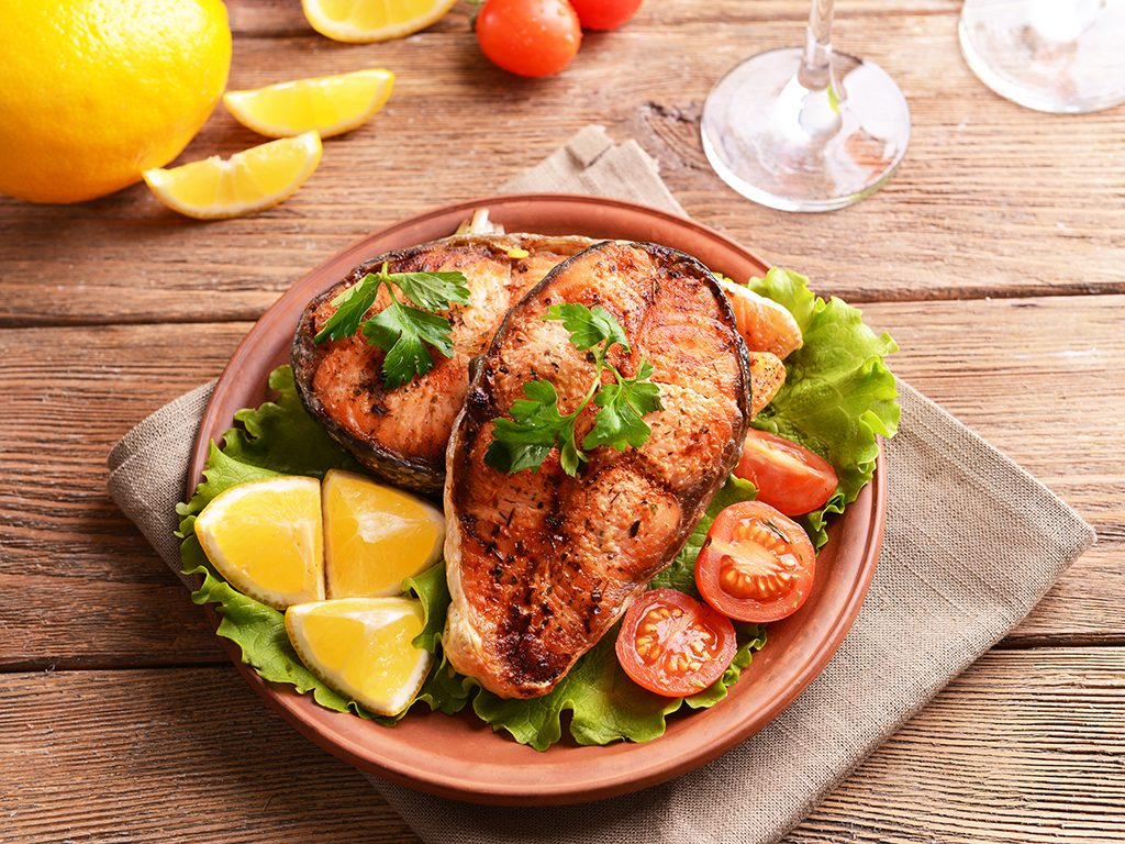 foods for great skin, fish and veggies on a plate