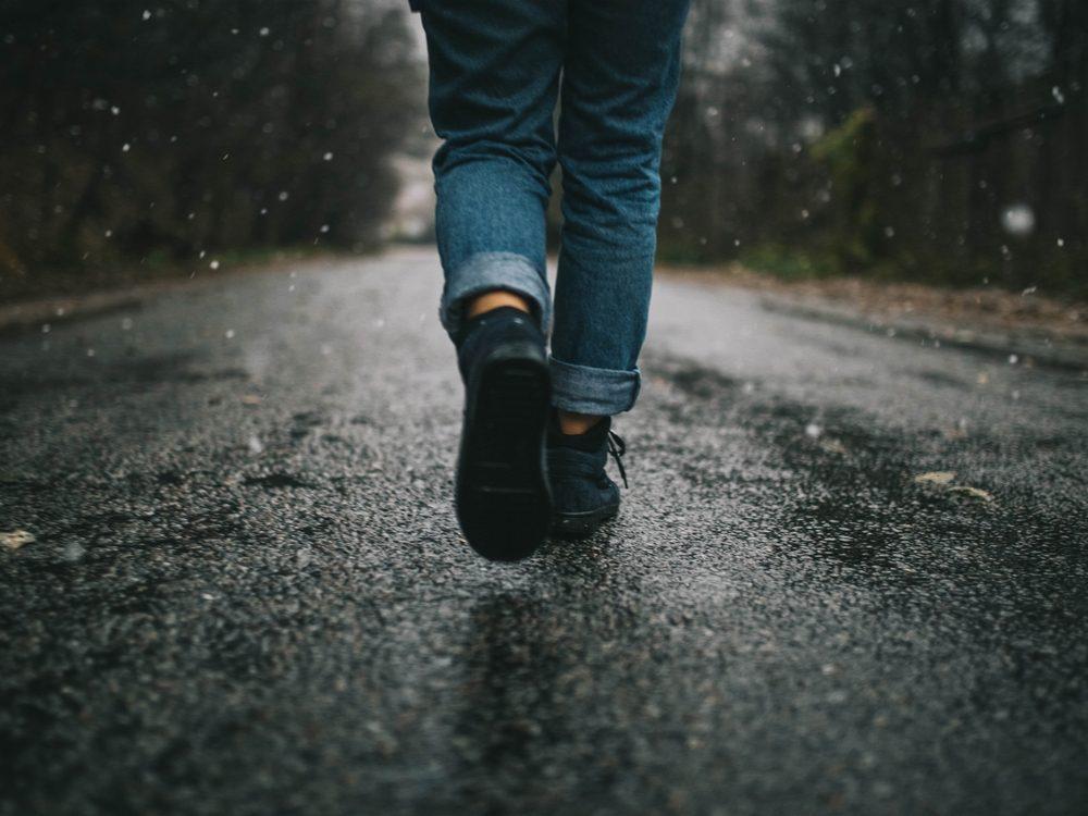 walk more tips, woman walking down the street