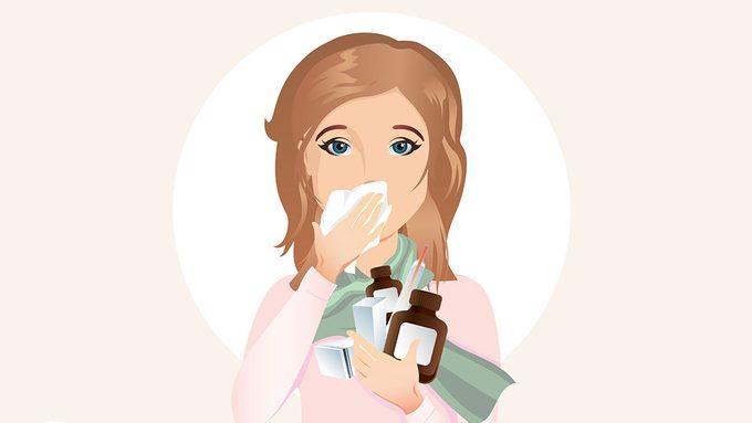 Cough Medicine, woman holding cough medicine