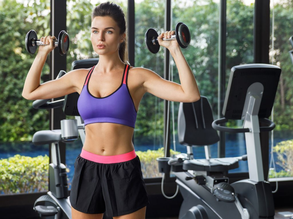 best arm exercises for women dumbbell press