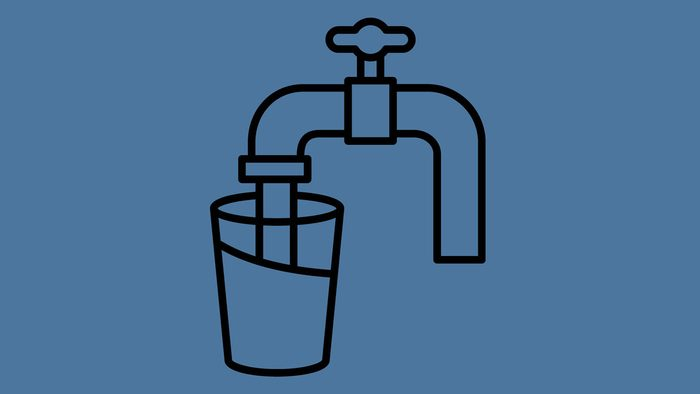 tap water metals, illustration of hot and cold water faucet