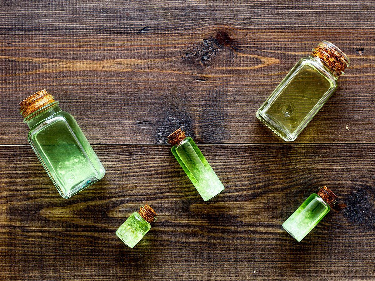 Blackheads, green bottles of tea tree oil