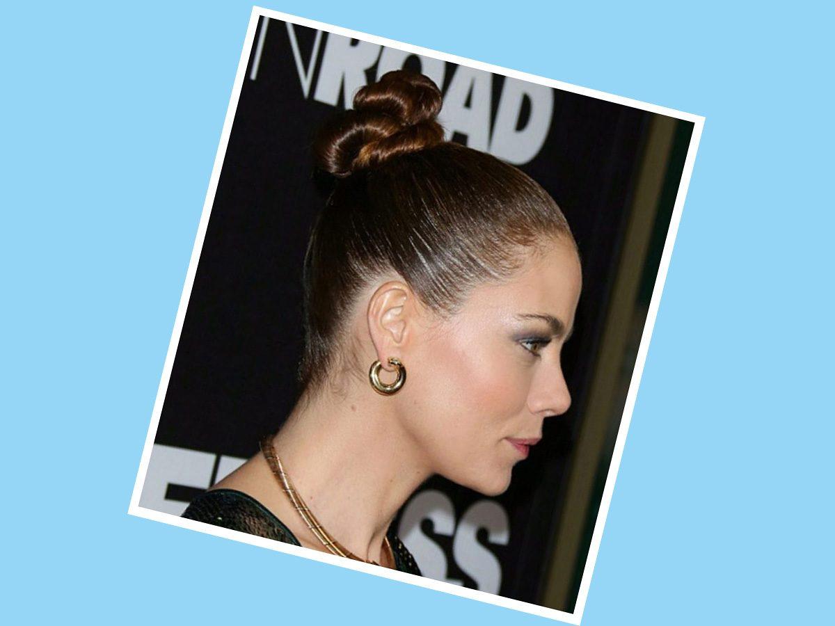Bridget Moynahan with sleek, tight updo