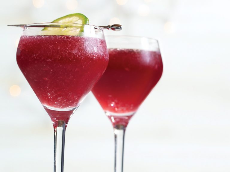 Cocktail, vibrant red Pomarita drink