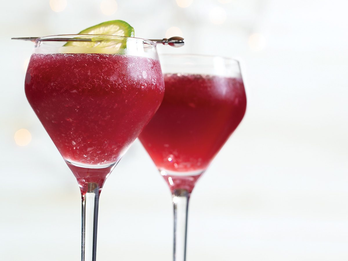 Cocktails, vibrant red Pomarita drink