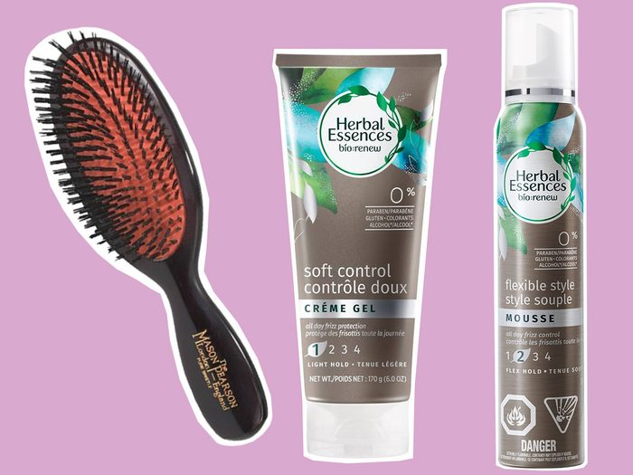 A Mason Pearson brush and two Herbal Essences styling products
