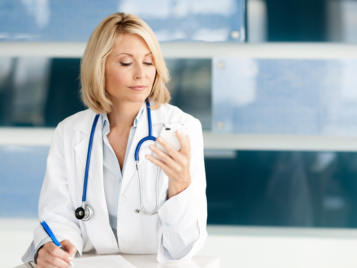 Health myths, A female doctor checks her cell phone