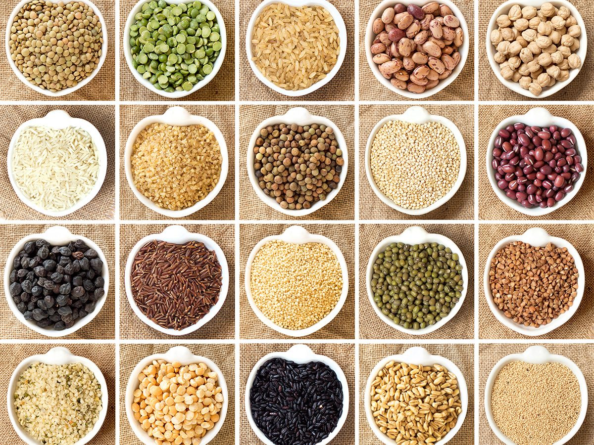 Healthy eating, Bowls and bowls of grains and legumes. A whole collection of carbohydrates.