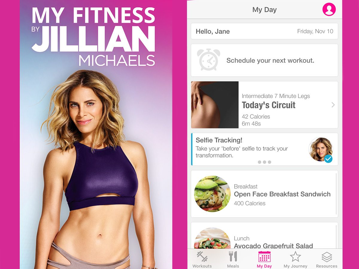 "Jillian Michaels My Fitness App home screen and ""My Day"" page"