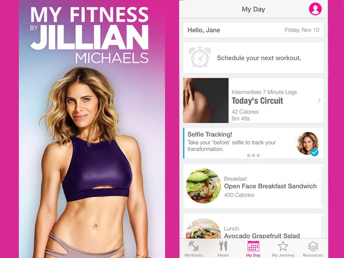 """Jillian Michaels My Fitness App home screen and """"My Day"""" page"""