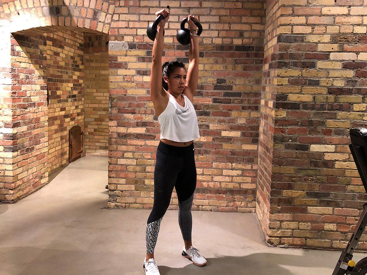 Kettlebell workout, Dual kettlebells push press