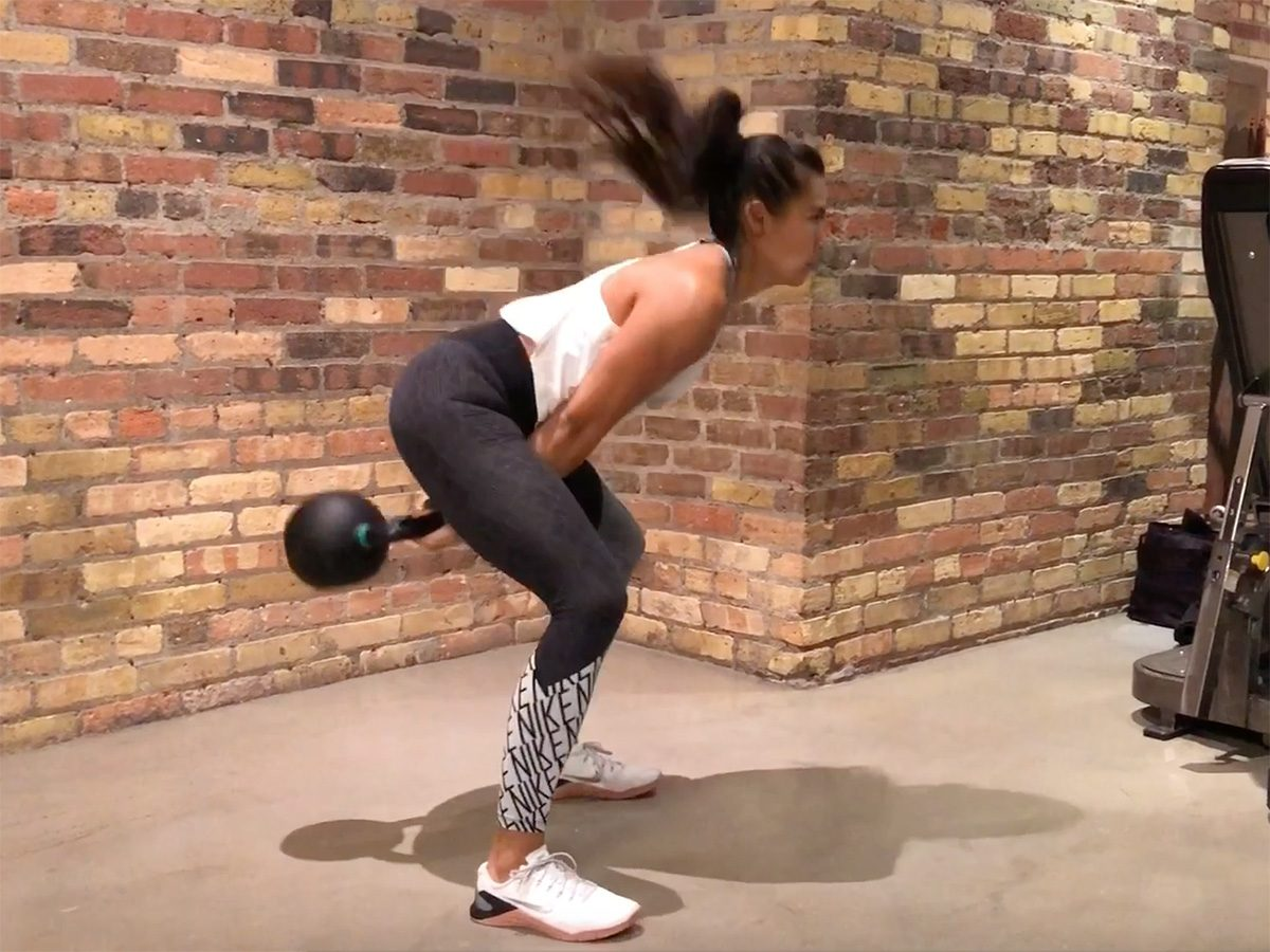Kettlebell workout, two-arm swings