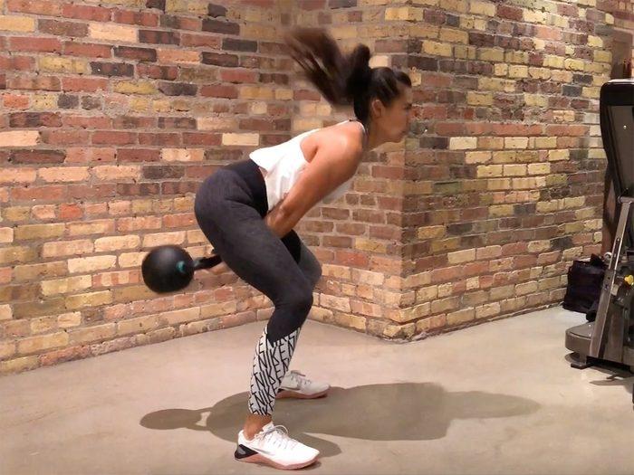 Kettlebell workout, two-arm swings