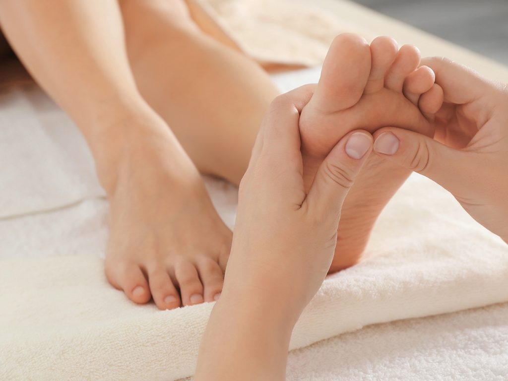 Las Vegas, woman getting foot massage at a spa