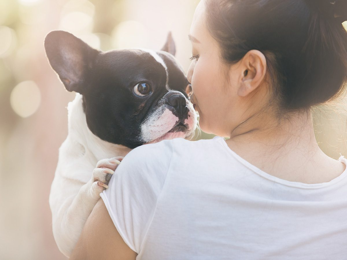 Rainy mood, woman hugging boston terrier dog
