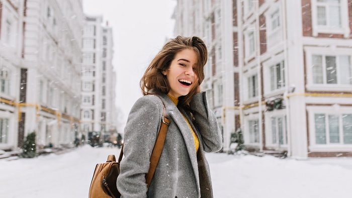 Skincare, woman outside in the winter