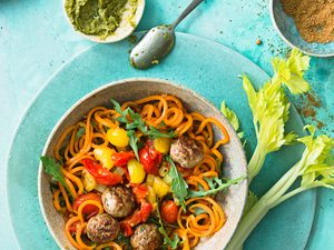 A Super Healthy Paleo Carrot Noodle Soup with Chicken Meatballs