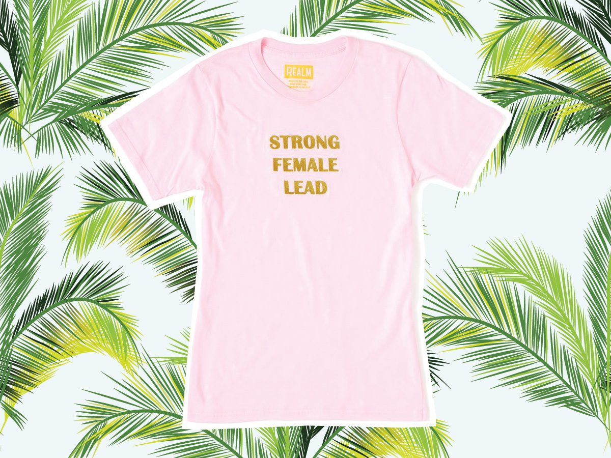 "Pink T-shirt that reads ""strong female lead"" for vacation"