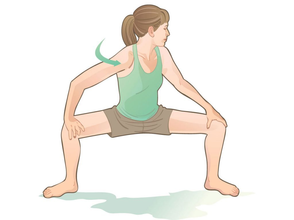 back stretches squat twist