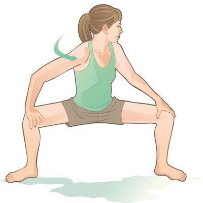 back stretches squat twist