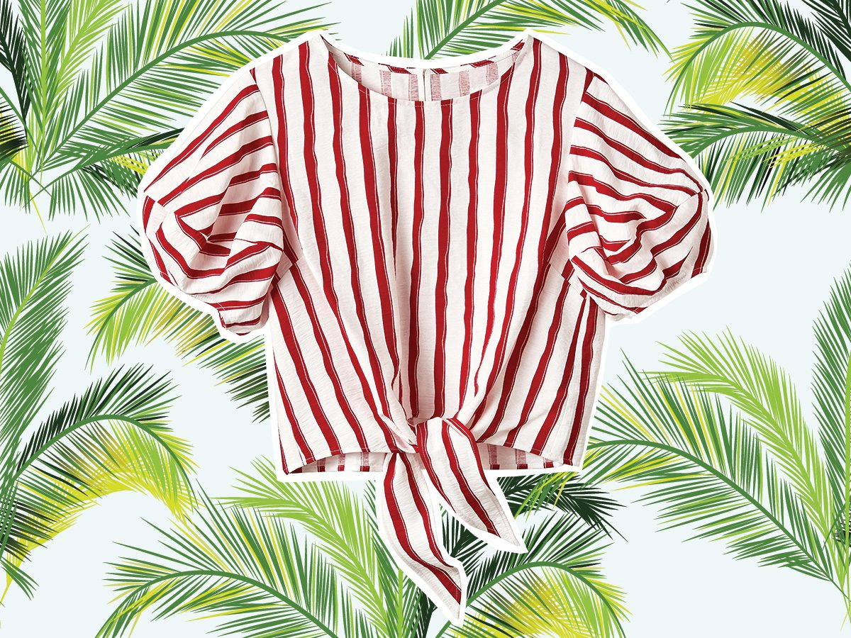 Red and white striped blouse for vacation