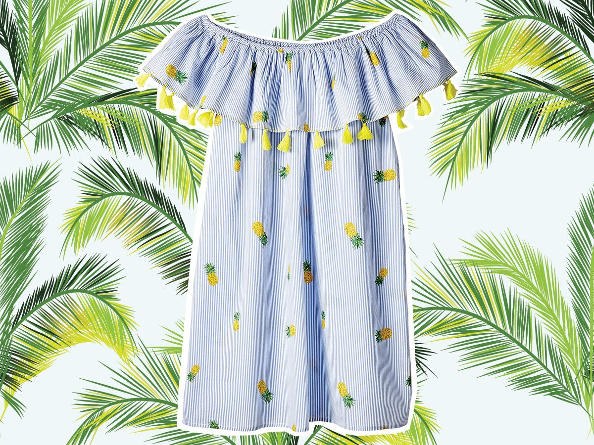 Pineapple print dress for vacation