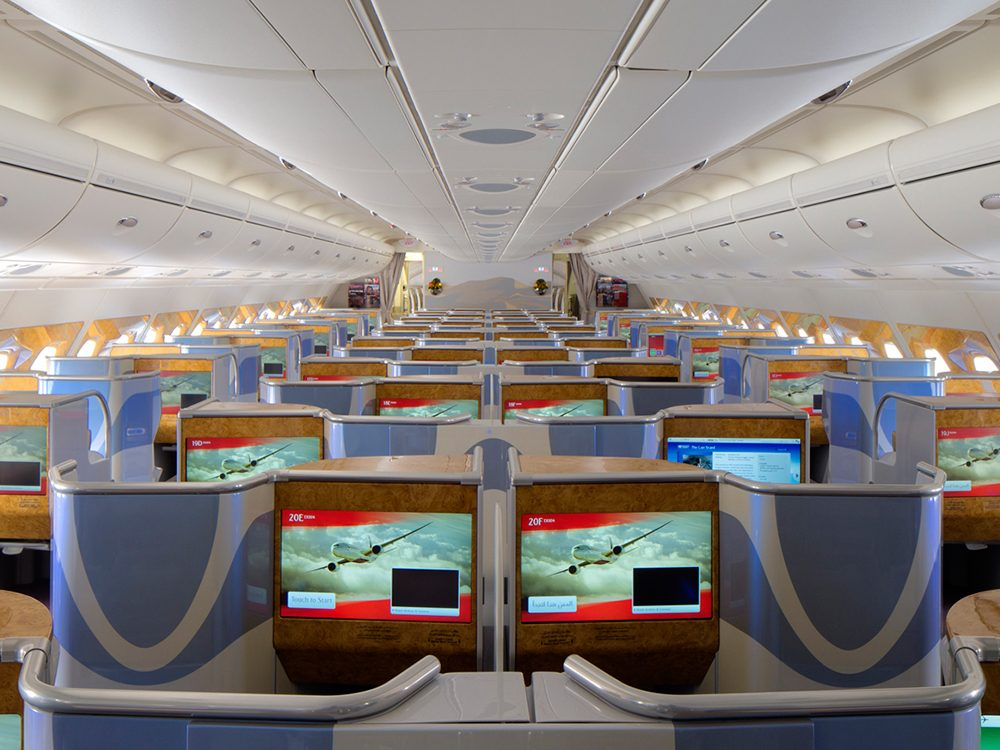 Flight to Dubai in Emirates business class cabin