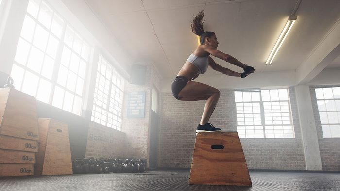 Fitness Tips, woman jumping on box in gym