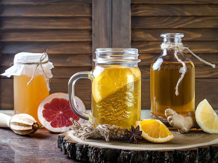 Health trends, jars of kombucha