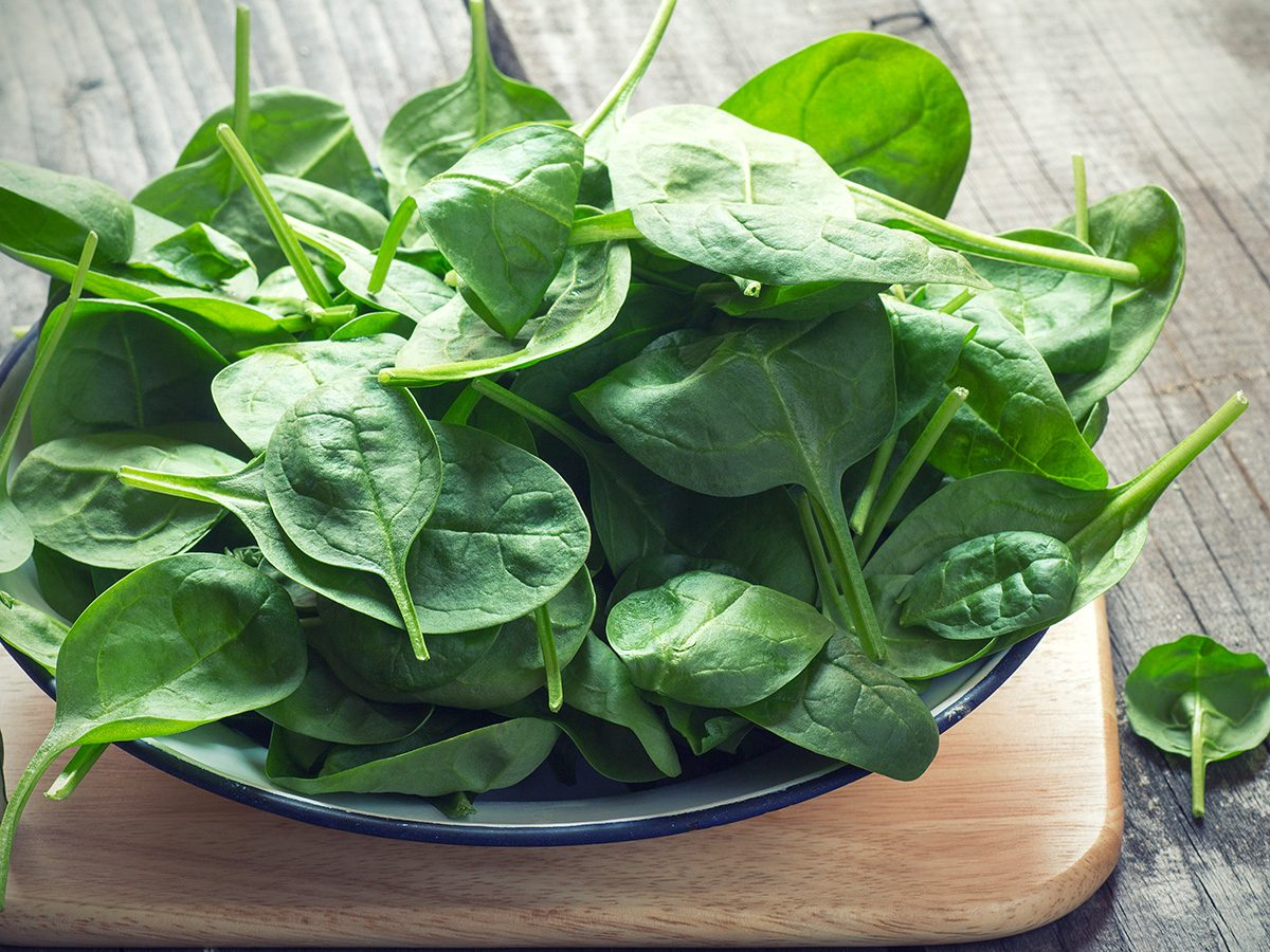 Healthy snacks, bowl of baby spinach