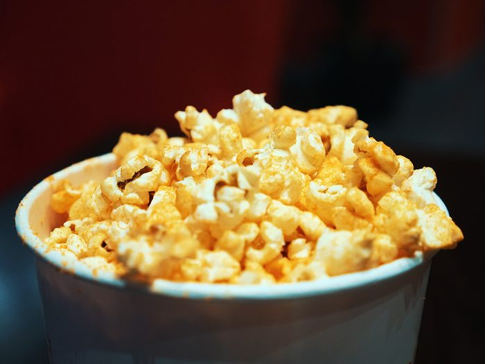 Healthy snacks, bowl of cheese popcorn