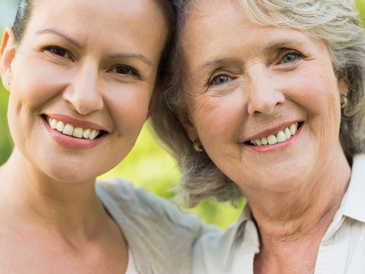 Menopause symptoms, an adult mother and daughter stand side by side