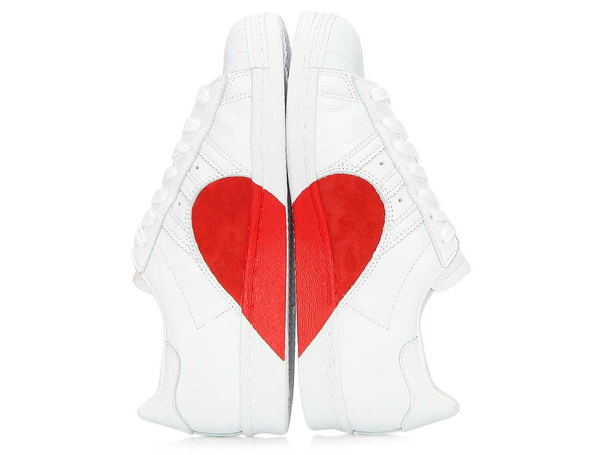 Spring shoes, Adidas Superstar heart sneakers