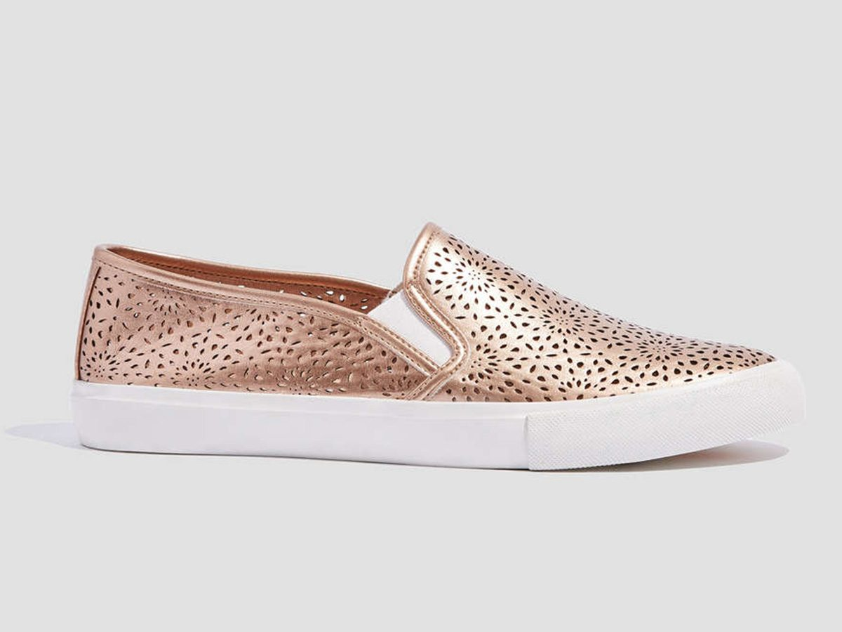 Spring shoes, sparkly rose gold Joe Fresh slip-on sneakers