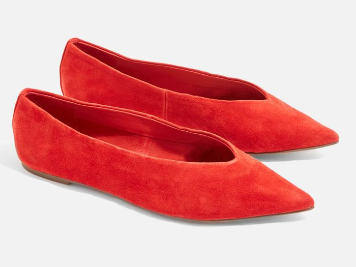 Spring shoes, Red pointed Topshop flats