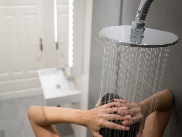 Allergies, woman taking a shower