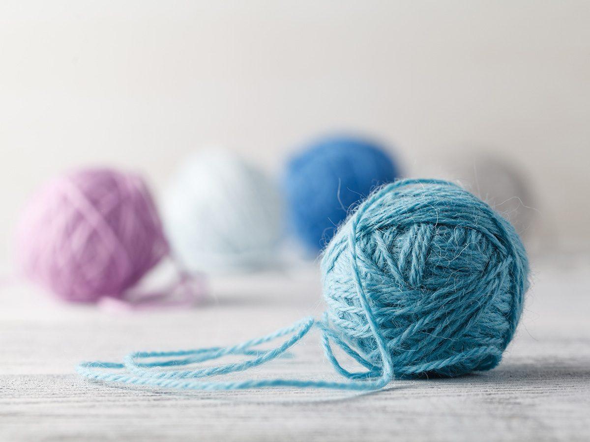 Eczema, rolls of pastel wool