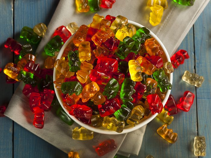 Extreme weight loss, a bowl of gummy bears