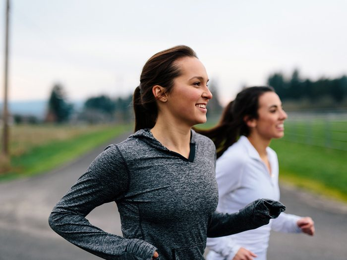 Extreme weight loss, two women running together