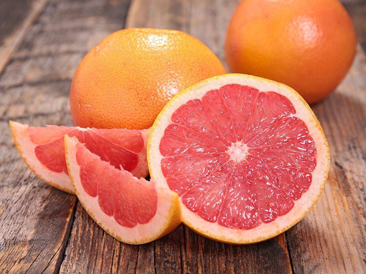 Healthy foods, cut up grapefruit
