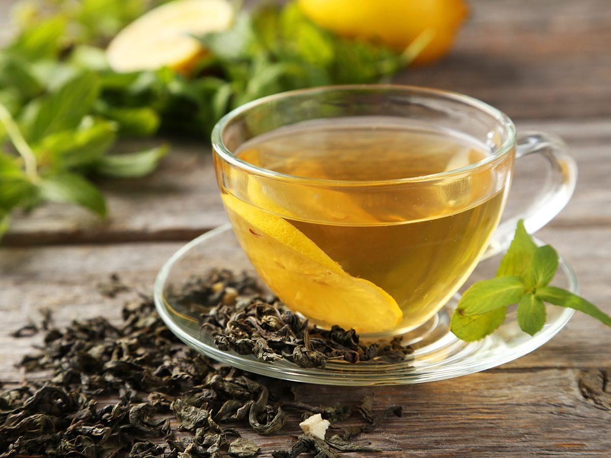 Healthy foods, cup of green tea