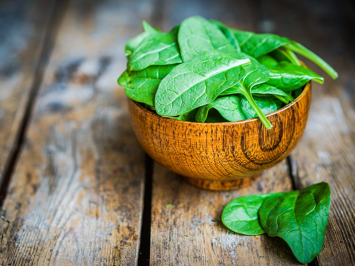 Healthy foods, bowl of spinach