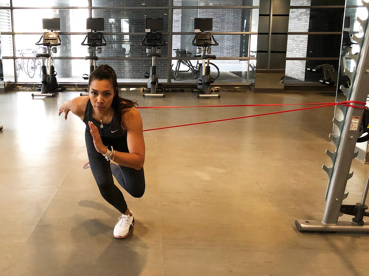 Resistance band workout, Banded lateral jumps