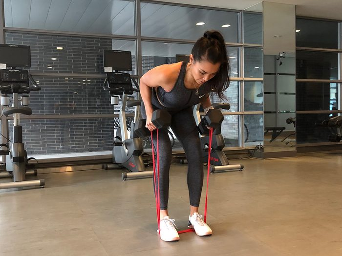 Resistance band workout, Bent-over rows