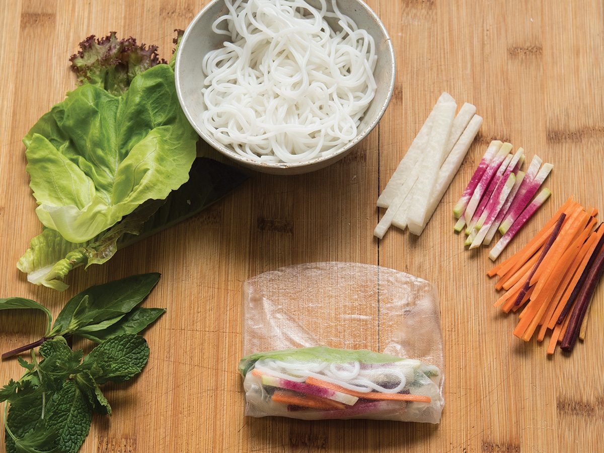 Snuggly rolling rice paper rolls