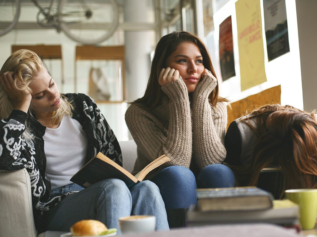Self love, toxic friends look bored on couch
