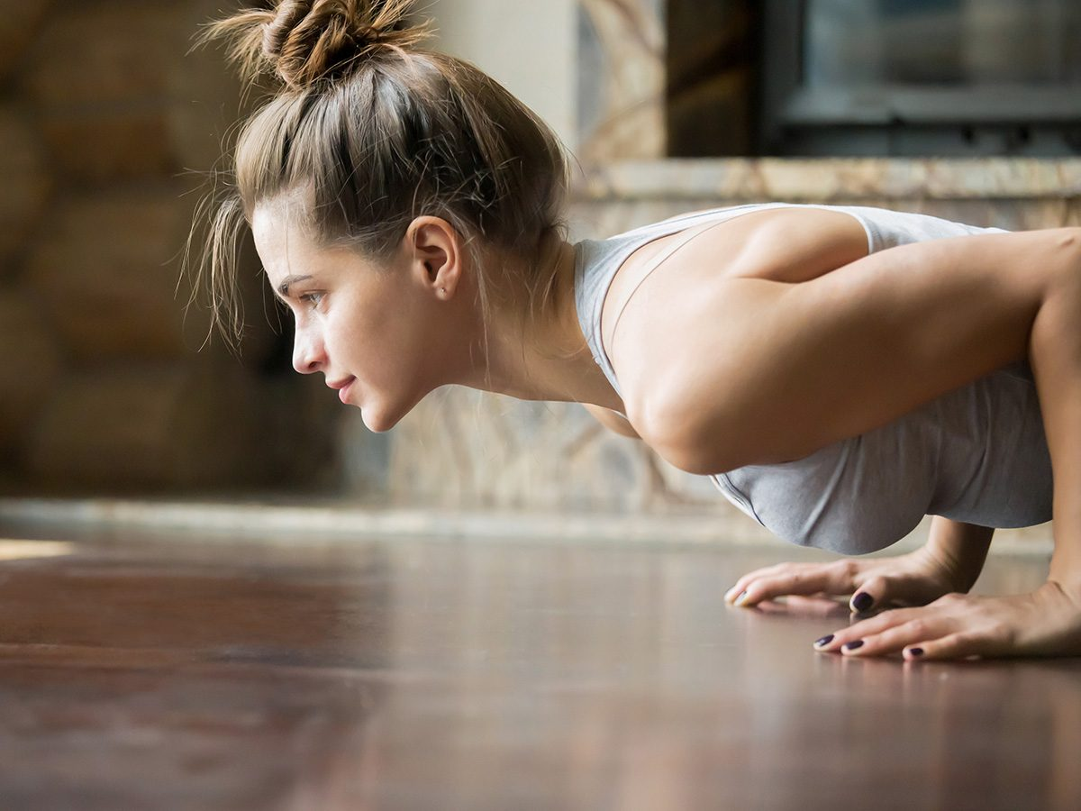 Shortness of breath, woman does a push up