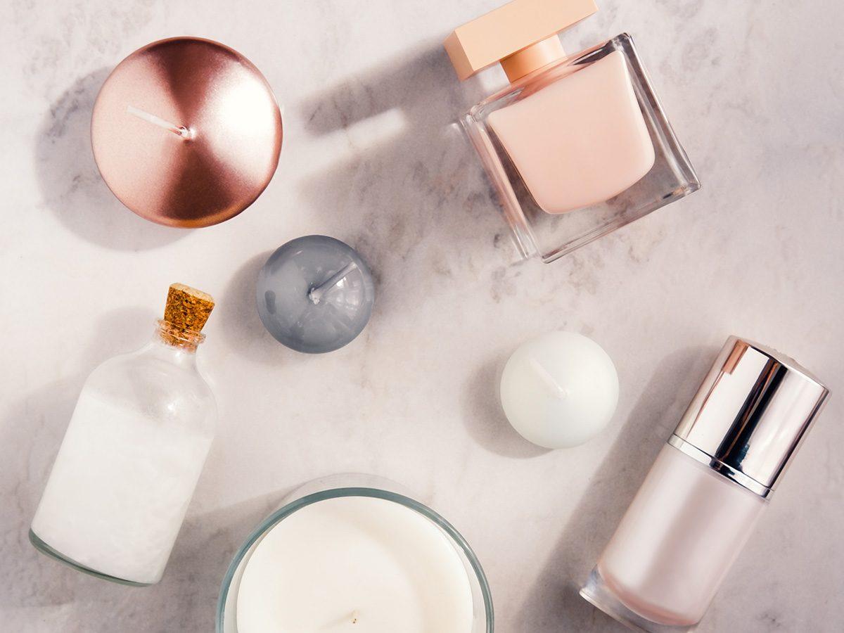 Jars of skin creams and candles
